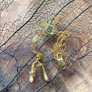 Juicy Couture Gold Rhinestones Wishbone Necklace